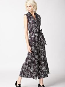 7CRASH女装黑色印花连体裤