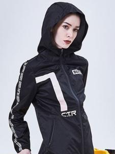 7CRASH女装黑色运动外套