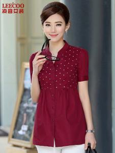 凌客女装红色波点衬衫