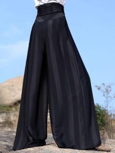 界内界外女装黑色宽松阔腿裤