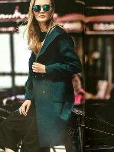 媛漫女装墨绿色宽松大衣