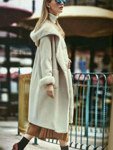 媛漫女装白色带帽长款大衣