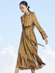 界内界外女装金色条纹连衣裙