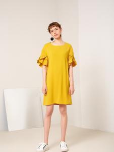蓝色倾情女装黄色修身连衣裙