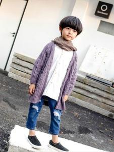 熙熙布衣紫色针织开衫
