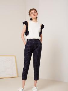 蓝色倾情女装黑色格子休闲裤