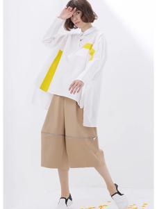 美衫美女装白色不规则上衣