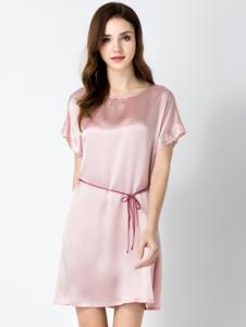 真丝婆女装粉色真丝睡裙
