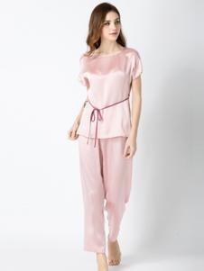 真丝婆女装粉色圆领真丝睡衣套装