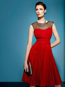 卡莉朵拉女装红色无袖连衣裙