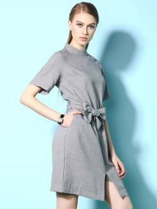 卡莉朵拉女装灰色开叉连衣裙