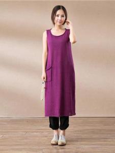 陌上桑女装紫色无袖棉麻连衣裙