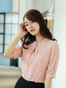 例轩女装粉色五分袖衬衫