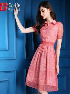 芭时俪女装粉色蕾丝连衣裙