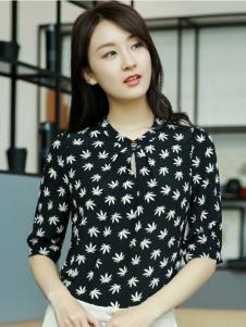 例轩女装黑色印花衬衫