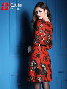 芭时俪女装红色印花连衣裙