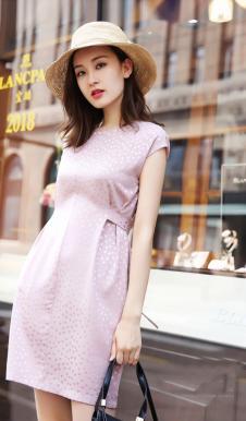 例轩女装粉色收腰连衣裙