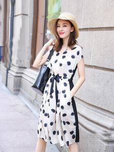 例轩女装白色波点连衣裙