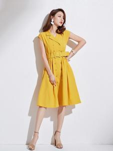 衣佳人女装黄色收腰连衣裙