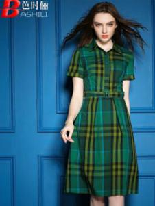 芭时俪女装绿色格子连衣裙