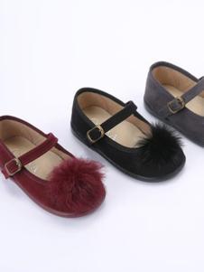 Ala Cofly红色毛绒球布鞋