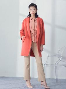 相对纶女装橘红中长款大衣