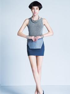 TENOS女装蓝色拼接性感包臀半身裙