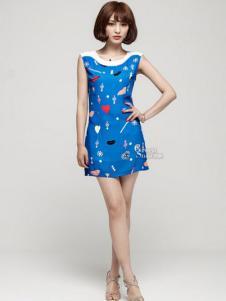 绿蜗女装蓝色几何连衣裙