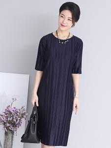 芙太太女装黑色条纹连衣裙