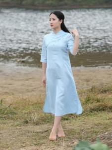 古時舊京女裝淺藍斜襟連衣裙