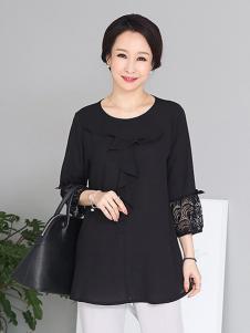 芙太太女装黑色蕾丝T恤