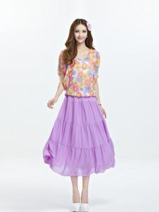 伊嘟嘟女装紫色百褶半身裙