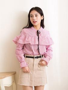 Ohmeygic女装粉色条纹荷叶边衬衫