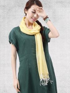 麻园工坊女装绿色短袖连衣裙