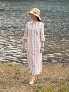 古時舊京女裝條紋開叉連衣裙
