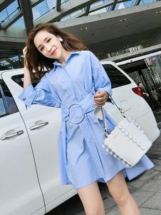 Ohmeygic女装蓝色衬衫连衣裙