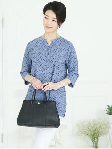 芙太太女装蓝色波点T恤