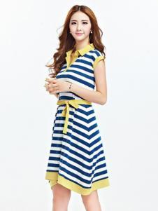 伊嘟嘟女装蓝白条不规则连衣裙