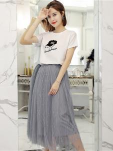 Ohmeygic女装灰色网纱半身裙
