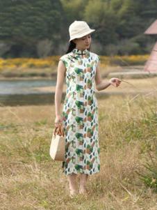 古時舊京女裝印花復古連衣裙