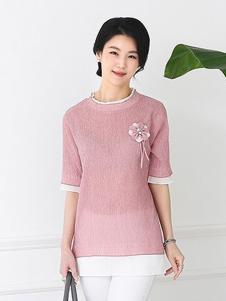芙太太女装粉色圆领T恤