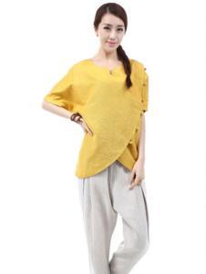麻园工坊女装黄色不规则T恤