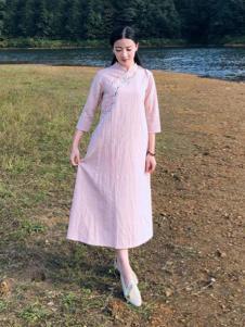 古時舊京女裝粉色棉麻復古連衣裙