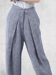 麻园工坊女装灰色直筒休闲裤