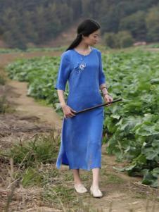 古時舊京女裝藍色繡花開叉連衣裙