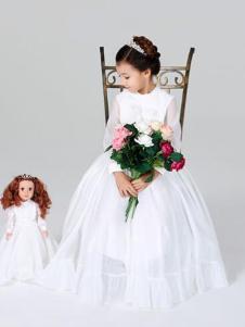 粒子粒姿童装白色网纱长袖连衣裙