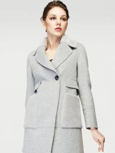 姿艾女装灰色大口袋西装领大衣