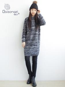柏松子女装灰色针织连衣裙