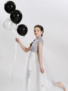 粒子粒姿童装灰白拼接连衣裙