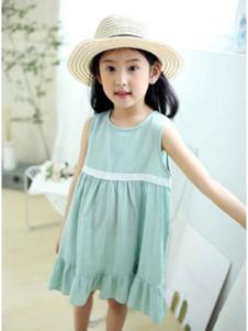 巴布朵朵童装青色无袖连衣裙